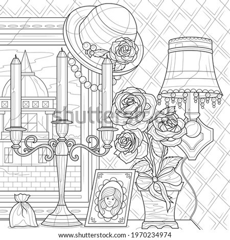 Retro things.Painting, candles and bouque of roses.Coloring book antistress for children and adults. Illustration isolated on white background.Zen-tangle style. Hand draw Stockfoto ©