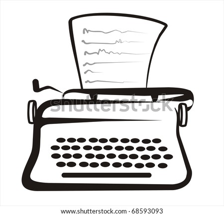 retro typewriter isolated sketch in black lines