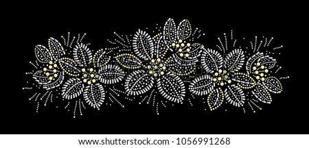Rhinestone applique print for textile clothes fashion,Trendy crystal studs embellishment for apparel,Beautiful Floral design, Heat transfer artwork.