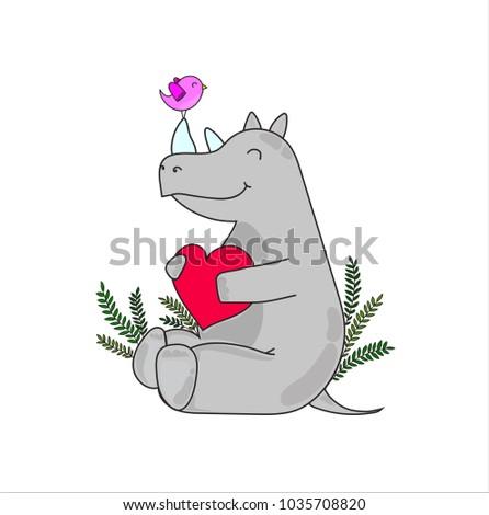 rhinoceros with heart and bird