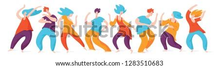5 Rhythms dancing. Spontaneous dancing people. Vector men and woman dancing.