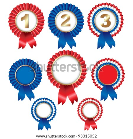 8 Ribbon Rosette Badge, Isolated On White Background, Vector Illustration