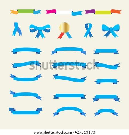Ribbon. Set of ribbons and labels icons. Ribbon bow tie. Ribbon tie. Ribbon banner. Ribbon label. Ribbon bow. Vintage award symbol. Ribbon vintage icon. Ribbon winner sign. Ribbon Vector illustration