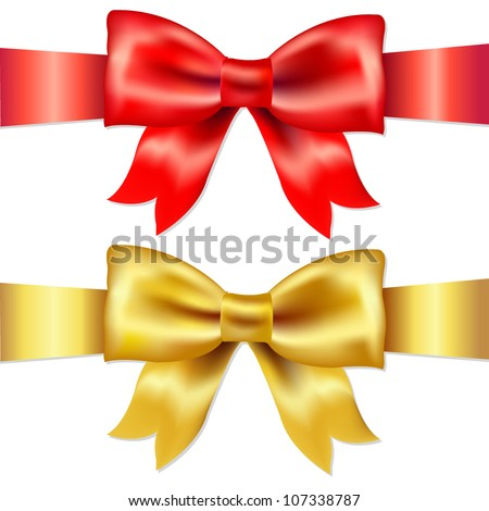 2 Ribbons, Red And Gold Gift Satin Bow, Isolated On White Background, Vector Illustration - stock vector