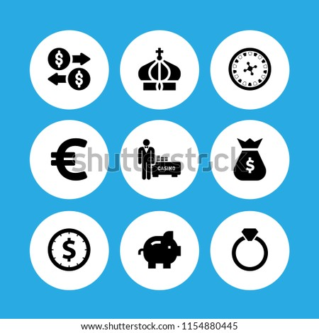 9 rich icons in vector set