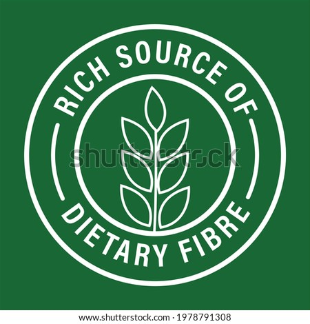 'rich source of dietary fiber' vector icon isolated on green background Stock photo ©