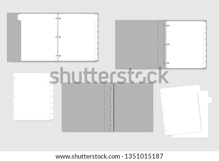 3 ring binder and hole punched white paper sheets with tab dividers, realistic mockup. Refillable notebook, vector template.