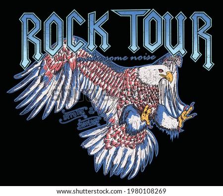 Rock Festival Graphic design for t-shirt. Eagle vector print design. American eagle vector design
