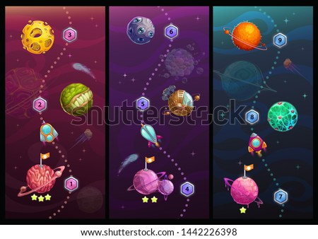 Rocket space trip concept. Galaxy game design. Vector cosmic illustration.