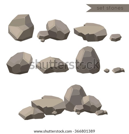 Rocks and stones single or piled for damage and rubble for game art architecture design