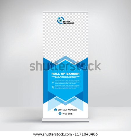 Roll-up design, modern graphic style, banner for advertising goods and services, stand for exhibitions, presentations, conferences, seminars. Abstract blue background. Template for photos and text.