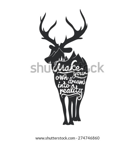 romantic poster with deer