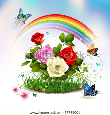 Roses On Grass With Butterflies And Rainbow Stock Vector ...