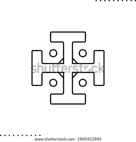 сross potent, monastery christian symbol vector icon in outline ストックフォト ©