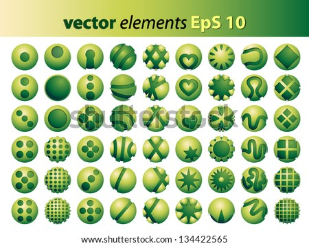 54 round green graphic elements with different motifs
