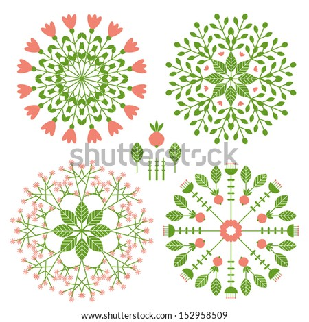 round patterns with vegetative