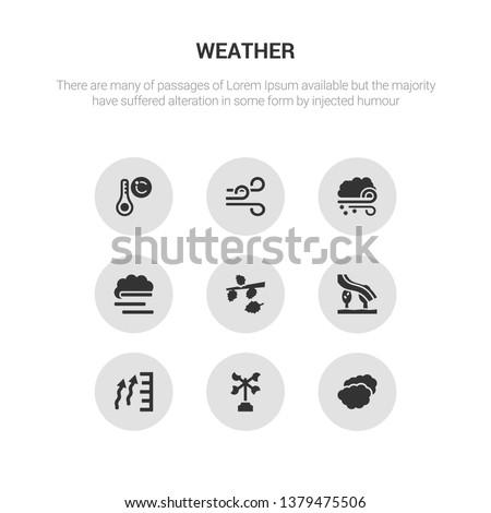 9 round vector icons such as altostratus, anemometer, atmospheric pressure, aurora, autumn contains blanket of fog, blizzard, breeze, celsius. altostratus, anemometer, icon3_, gray weather icons