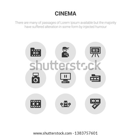 9 round vector icons such as