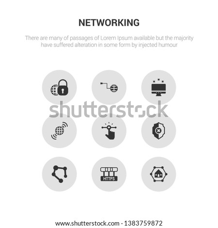 9 round vector icons such as home network, https, hub, insecure, interactive contains internet, internet attack, internet connection, security. home network, https, icon3_, gray networking icons