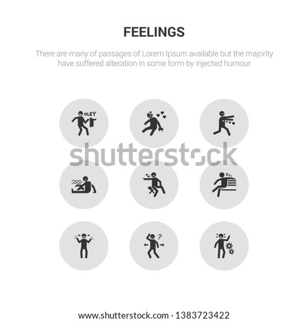 9 round vector icons such as incomplete human, inspi human, irritated human.