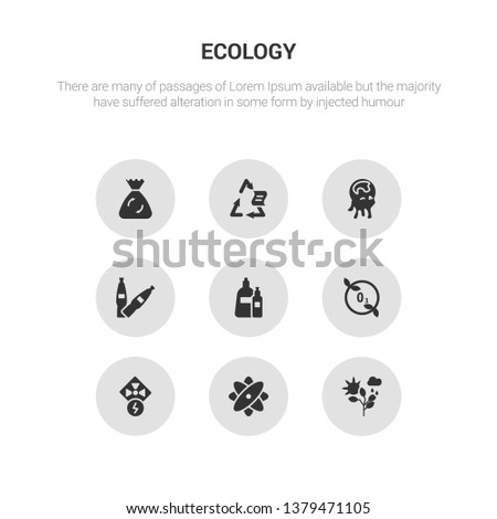 9 round vector icons such as nature, nuclear energy, nuclear power, ozone layer, plastic contains plastic bottle, pollution, recyclable, recycle bag. nature, nuclear energy, icon3_, gray ecology