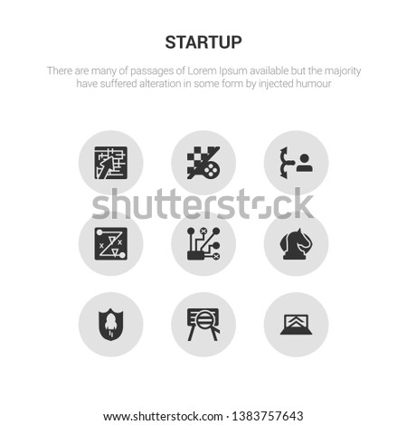 9 round vector icons such as startup laptop, startup project search, startup shield, strategic vision, strategical planning contains strategy, strategy choice, strategy game, in a labyrinth. laptop.