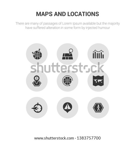 9 round vector icons such as walking, warning, west, world map folded, worldwide contains you are here, demographics, geolocation, geoanalytics. walking, warning.