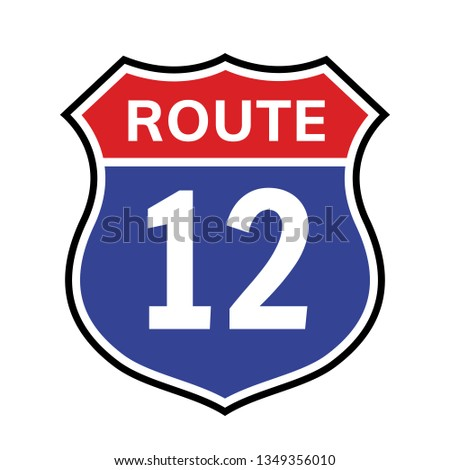 12 route sign icon vector road