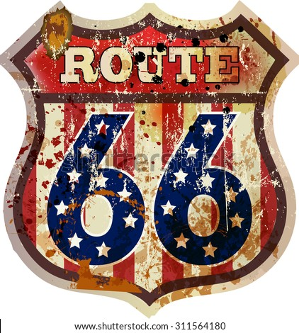 route sixty six road sign,retro style
