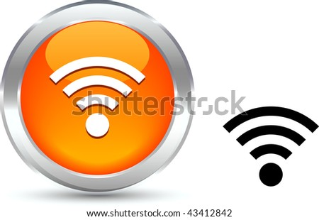Rss  realistic button. Vector illustration.