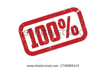 100% Rubber Stamp. Red 100% Rubber Grunge Stamp Seal Vector Illustration - Vector