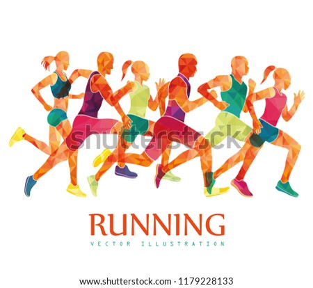Running marathon, people run, colorful poster. Vector illustration