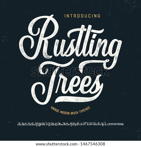 """Rustling Trees"". Vintage Brush Script Modern Font. Retro Typeface. Vector Illustration."