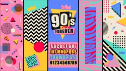 90s and 80s poster. Nineties forever. Retro style textures and alphabet mix. Aesthetic fashion background and eighties graphic. Pop and rock music party event template. Vintage vector poster, banner.
