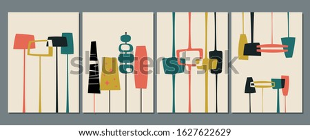 1950s Backgrounds, Patterns, Mid Century Modern Style Shapes and Vintage Colors Stock photo ©