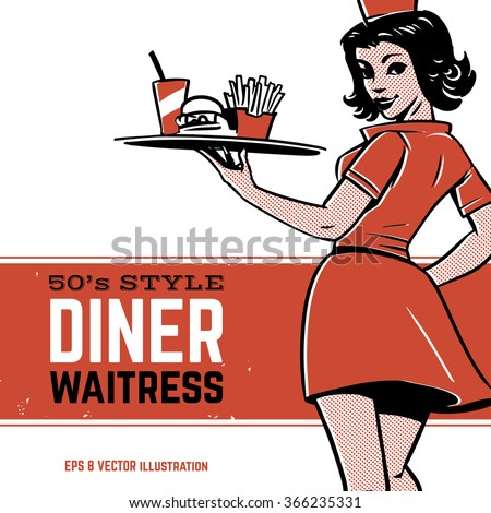 50's diner waitress. drive in...
