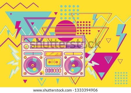 80s disco funky colorful music design - boombox