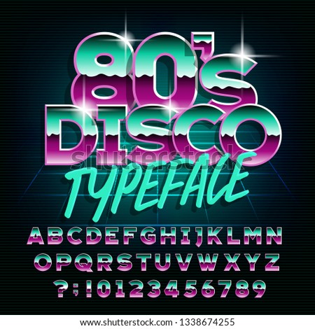 80's Disco typeface. Letters and numbers. Stock vector alphabet font for your design in retro 80s style.