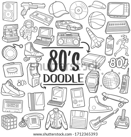 80's, Eighties years doodle icon set. Retro technology clip art hand drawn vector. Line art style collection.
