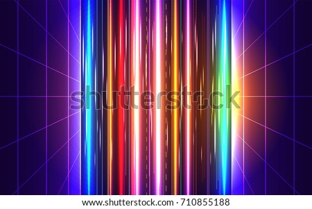 80s futuristic style abstract backgound. Sci-Fi Neon perspective grid with motion blur effect. Retro disco party background design. Game level visual concept. Vector illustration