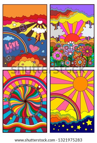 1960s Hippie Style Backgrounds, Covers, Posters, Prints Set Psychedelic Set