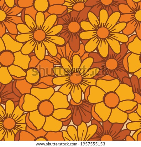 70's inspired floral seamless vector pattern. This pattern included browns and yellows represented in a bold way. Great for fabrics and packaging