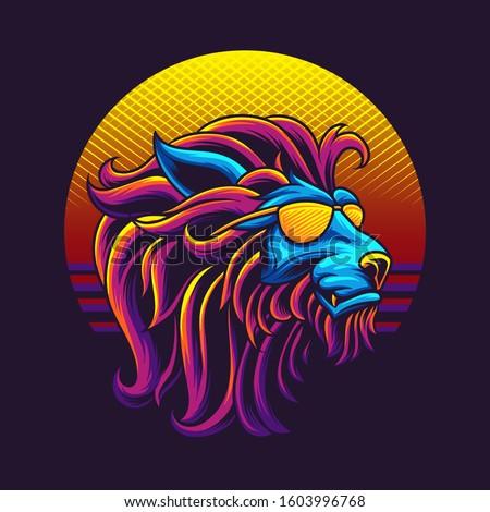 80s lion head vector