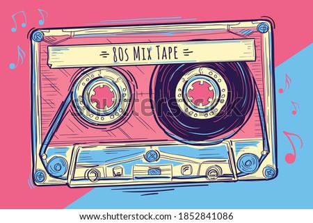 80s mix tape - colorful musical audio cassette design Сток-фото ©