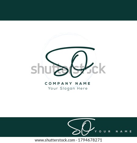S O SO Initial letter handwriting and signature logo. Beauty vector initial logo .Fashion, boutique, floral and botanical Zdjęcia stock ©