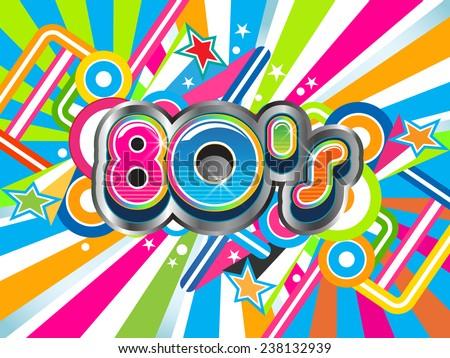 80s Party illustration logo. Vector design
