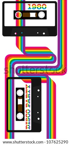 80's Party - Retro Audio Cassette Tapes and Rainbow Ribbons on White Background