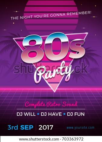 80s party retro flyer design vector illustration