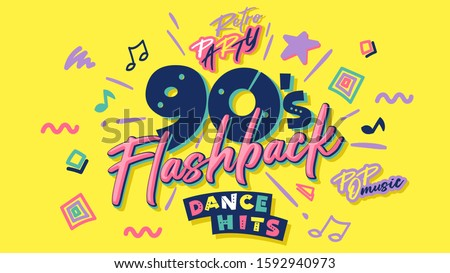 90s poster. Nineties flashback. Retro music style textures and objects mix. Aesthetic fashion background and old fashion graphic. Vintage vector invintation card, banner. Easy editable template.