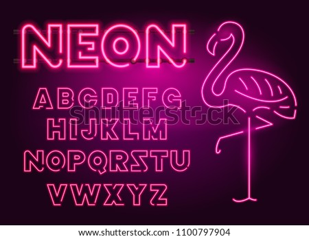 80 s purple neon retro font and flamingo. Futuristic chrome letters. Bright Alphabet on dark background. Light Symbols Sign for night show in club. concept of galaxy space. Outlined version.